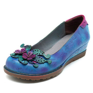 SOCOFY Handmade Leather Retro Casual Flats Loafers