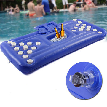 24 Holder Inflatable Beer Pong Ball Table Water Floating Raft Lounge Swim Pool Party Game