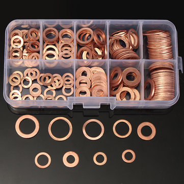 200Pcs Solid Copper Washer Sump Plug Assorted Flat Sealing Washer Kit 9 Sizes