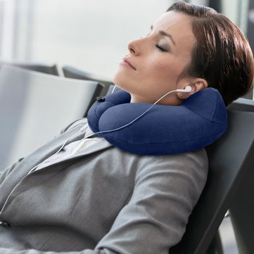 Inflatable Travel Pillow Contains Compact Button for Carrying Bag Airplane Train Grey and Blue