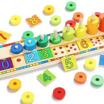 TopBright-6540 Blocks Montessori Classic Math Rainbow Donuts Box Educational Toys for Kids