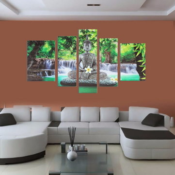 5PCS Frameless Canvas Painting Prints Buddha Buddhism Worship Picture Art Home Wall Decoration Paper Art