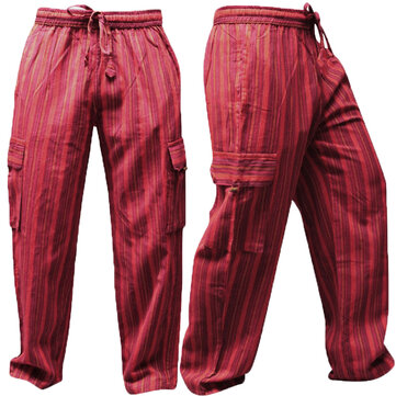 Men's Cotton S-5XL Stripe Drawstring Loose Cargo Pants