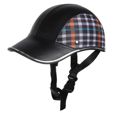 Motorcycle Anti-UV Helmet Baseball Cap Style Plaid Safety Half Helmets