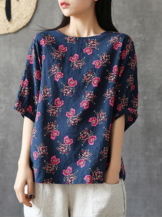Plus Size Women Floral Print Short Sleeves Blouse