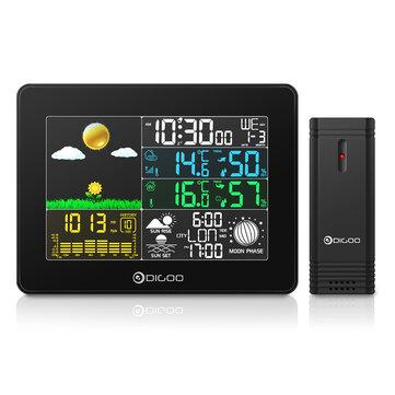 DIGOO Pantalla a todo colo inalámbrica USB digital al aire libre Estación meteoológica de presión barométrica Higrómetro de casa inteligente Termómetro Pronóstico Senso
