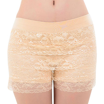 Cozy Layered Lace Embroidery Shapewear Lingerie Boyshort Panties Safety Underwear