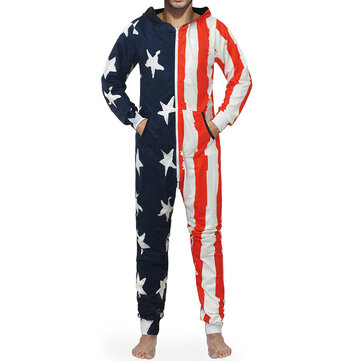Personalized Flag Pattern Hooded Home Loungewear Onesie
