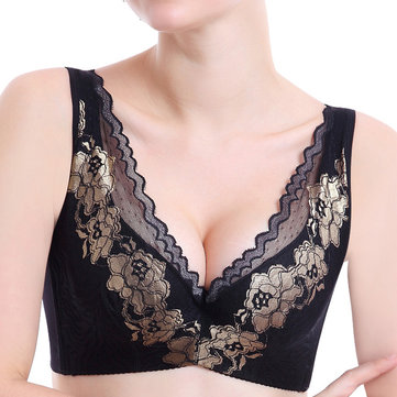 Woman Sexy Dark V Luxurious Embroidery Underwire Bralette Floral Lace Push Up Adjustment Bras