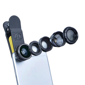 Apexel 5 in 1 Fisheye Wide Angle Macro Telephoto CPL Lens For IPhone Xiaomi Smartphone Camera DG5