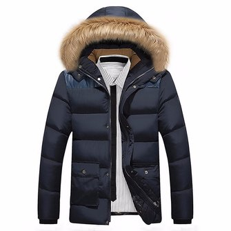 Mens Winter Fur Collar Detachable Hood Thick Warm Padded Jacket Parka