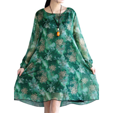 Retro Style Women Flower Printed Long Sleeve Dress