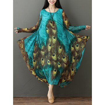 M-5XL Vintage Women Peacock Feather Print Long Sleeve Dress