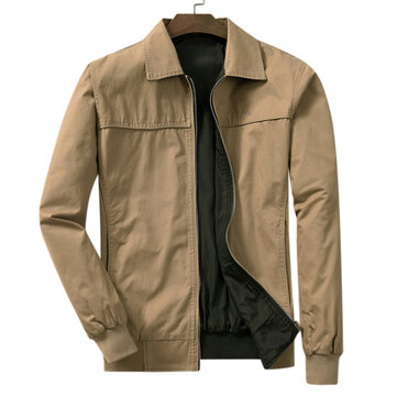 Mens Turn Down Collar Casual Busniess Spring Autumn Jacket Solid Color Coat