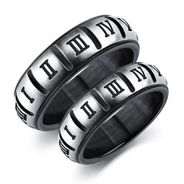 Punk Titanium Steel Black Roman Digital Couple Ring