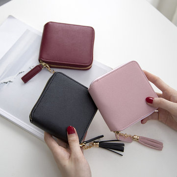 Women Small Wallets Tassel Pendant Short Money Wallets PU Leather Lady Zipper Coin Pocket Purse