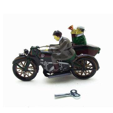 Moto Con Pasajero En Sidecar, Mecanismo de cuerda retro, Juguetes de hojalata con Caja