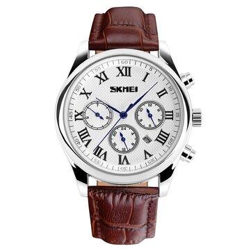 SKMEI 9078 PU Leather Band Date Waterproof Men Analog Quartz Wrist Watch