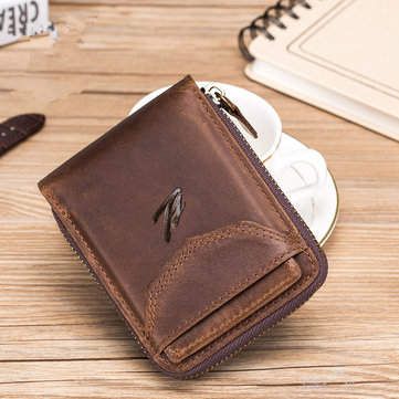 Men Genuine Leather Zipper Vintage Wallet