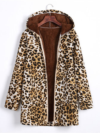 Women Zipper Plush Retro Leopard Print Hooded Coats