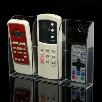 Acrylic TV Air Conditioner Remote Control Holder Case Wall Mount Storage Box