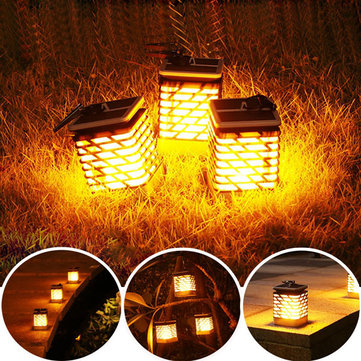 Solar Powered 75 LED Flame Lawn Lamp Waterproof Outdoor Garden Landscape Yard Decor