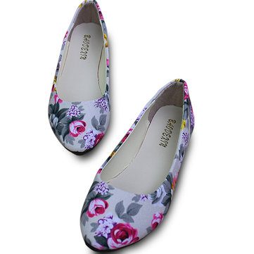 US Size 5-11 Shoes Women Flower Flats Casual Outdoor Canvas Pointed Toe Soft Comfortable Flats Shoes