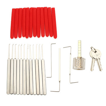 DANIU 12Pcs High Quality Lock Pick Tools Set Lock Opener with T-Lock Transparent Lock