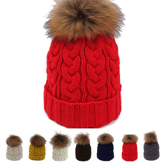 Women Girl Crochet Knitting Thick Caps Beret Ski Slouch Pompon Ball Beanie Hat