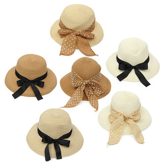 Women Ladies Beach Floppy Derby Fedora Hat Summer Sun Bowknot Dot Linen Straw Cap