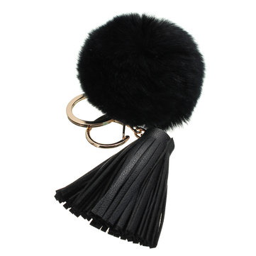 Car Keychain Handbag KeyRing Fashion Beaver Rabbit Fur Ball PomPom with Tassel
