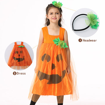 Halloween Kid Girls Pumpkin Fancy Dress Costume with Headwear