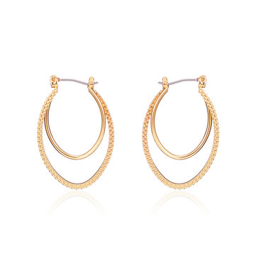 Fashion Double Hoop 18K Gold Plated Oval Pendant Piercing Earrings Best Gift for Women