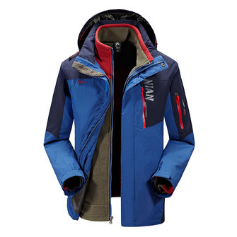 Winter Outdoor Windbreaker Fleece Liner Jacket Mens Warm Ski Sportswear Removível de duas partes