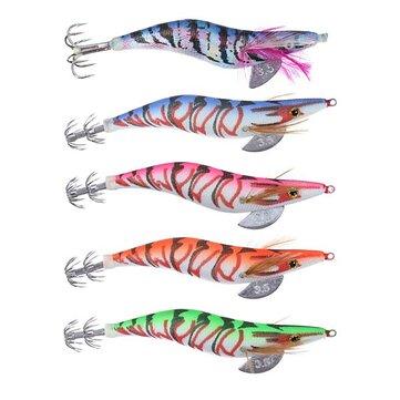 5 pcs 13.5cm20g Wood Shrimp Squid Lures Bait Bass Hooks