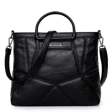 Women PU Leisure Solid Tote Handbags Stitching Large Capacity Crossbody Bags