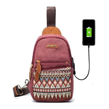 Buy Brenice USB Charging Port Chest Bag Retro Printing Canvas Women Shoulder Crossbody Bag for $15.69 in Banggood store