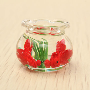 Mini Glass Fish Tank Miniature Transparent Aquarium Dollhouse Ornaments