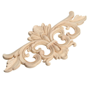 Wood Carving Applique Unpainted Flower Applique Wood Carving Decal for Furniture Cabinet 22x10cm