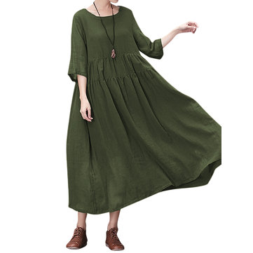 Gracila Women Pure Color 3/4 Sleeve Loose Swing Maxi Dress
