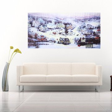 Christmas Small Town Canvas Frameless Canvas Painting Living Room Bedroom Wall Painting Home Decor