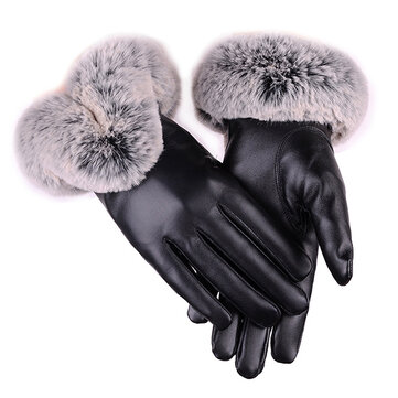 Women Cold Winter Warm Thick Rabbit Fur PU Leather Texting Screen Waterproof Windproof Ski Gloves