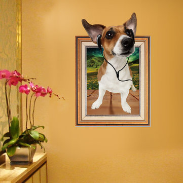 Miico 3D Creative PVC Wall Stickers Home Decor Mural Art Removable Cute Dog Wall Decals