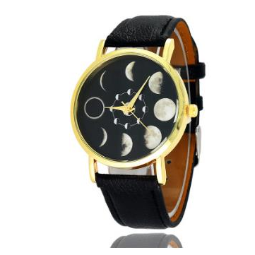 Solar Moon Phase Lunar Eclipse Leather Strap Unisex Watch