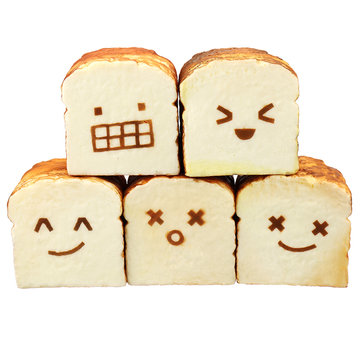 Bread Squishy Toast 8CM Funny Expressions Jumbo Gift Collection With Packaging