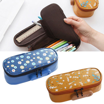 PU Leather Pencil Case Floral Zipper Pen Pouch Lock Storage Bag Travel Cosmetic Bag