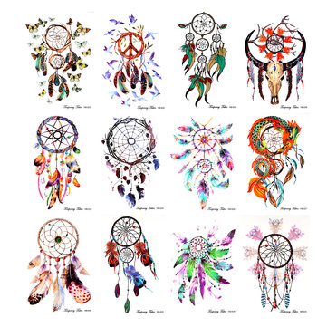 12pcs Dream Catcher Temporary Tattoo Sticker Body Arm Leg Waterproof Decal Kit