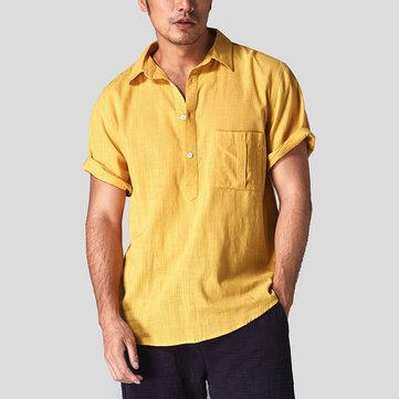 Mens Cotton Summer Shirts Loose Short Sleeve Solid Color T-shirt