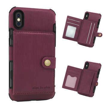 Brushed Finish Vintage Wallet Card Slots Protective Case For iPhone X