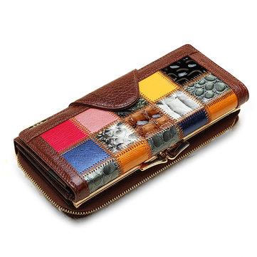 Women Genuine Leather Patchwork Long Wallet Elegant Random Pattern Purse Card Holder